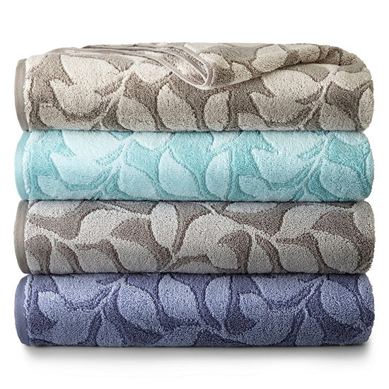 Jcp Home Collection: JCPenney Home Jacquard Leaves Bath Towel Collection-JCPenney