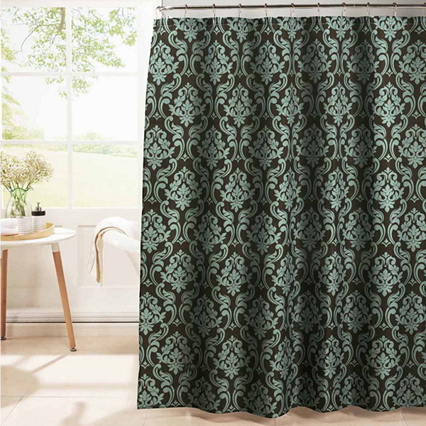 Chain Damask with Metal Hooks Shower Curtain Set