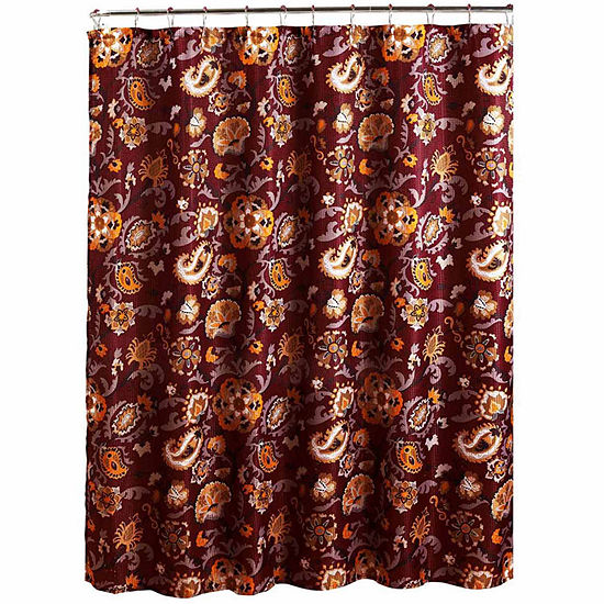 Henna With Metal Hooks Shower Curtain Set