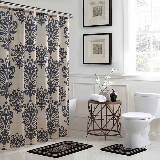 Reverly Damask 15-Piece Shower Curtain Set
