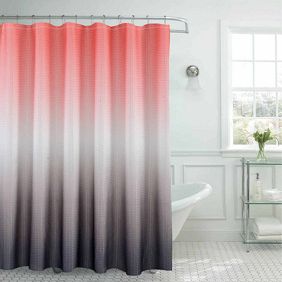 Ombre With Bead Rings Shower Curtain Set