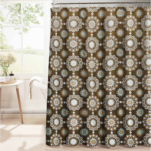 Moroccan Tile Waffle Weave Textured Shower Curtain With Metal Roller Hooks