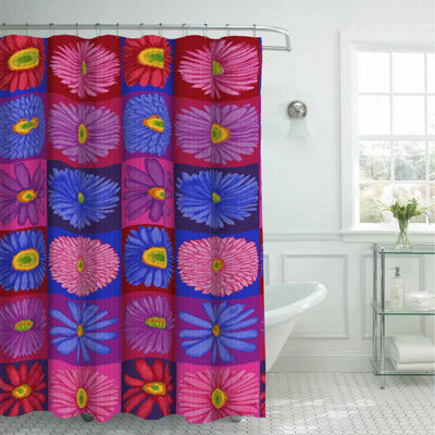 Brighten Up Daisy with 12 Metal Rings Shower Curtain Set