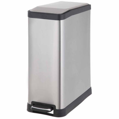 Home Zone® 45-Liter Rectangle Stainless Steel Trash Can With Pedal