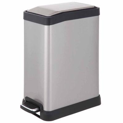 Home Zone® 8-Liter Rectangle Stainless Steel Trash Can With Pedal