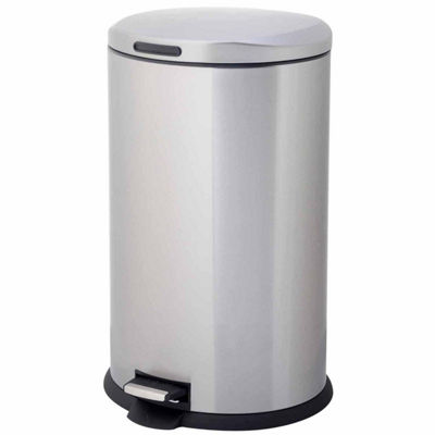 Home Zone® 40-Liter Oval Stainless Steel Trash Can With pedal