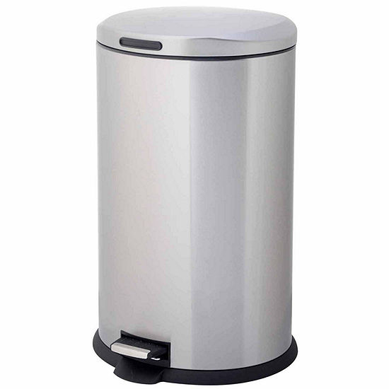 Home Zone 40 Liter Oval Stainless Steel Trash Can With Pedal