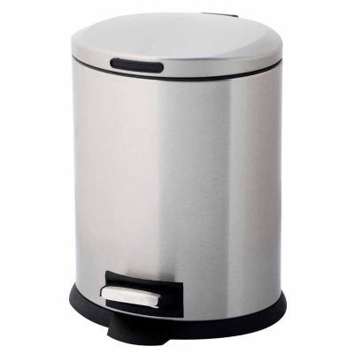 Home Zone® 5-Liter Oval Stainless Steel Trash Can With Pedal