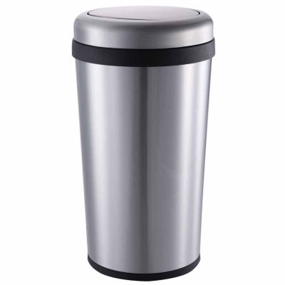 Home Zone® 45-Liter Taper Swing Top Stainless Steel Trash Can