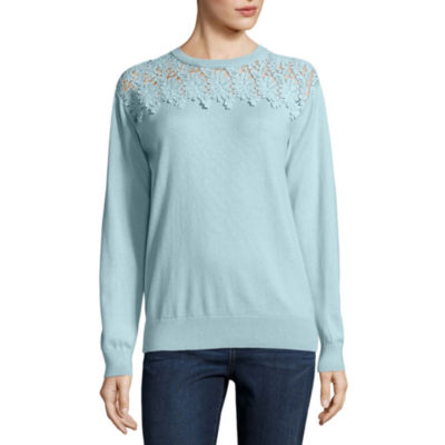 St. John's Bay Long Sleeve Lace Crew Neck Pullover Sweater
