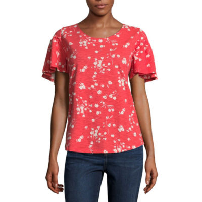St. John's Bay Short Sleeve Crew Neck T-Shirt-Womens
