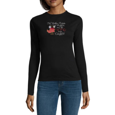 Mc2 Long Sleeve Crew Neck Holiday T-Shirt-Womens
