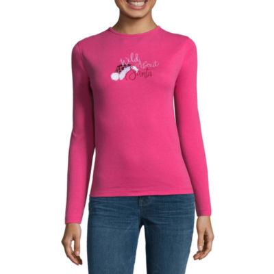 Mc2 Long Sleeve Crew Neck Holiday T-Shirt-Womens