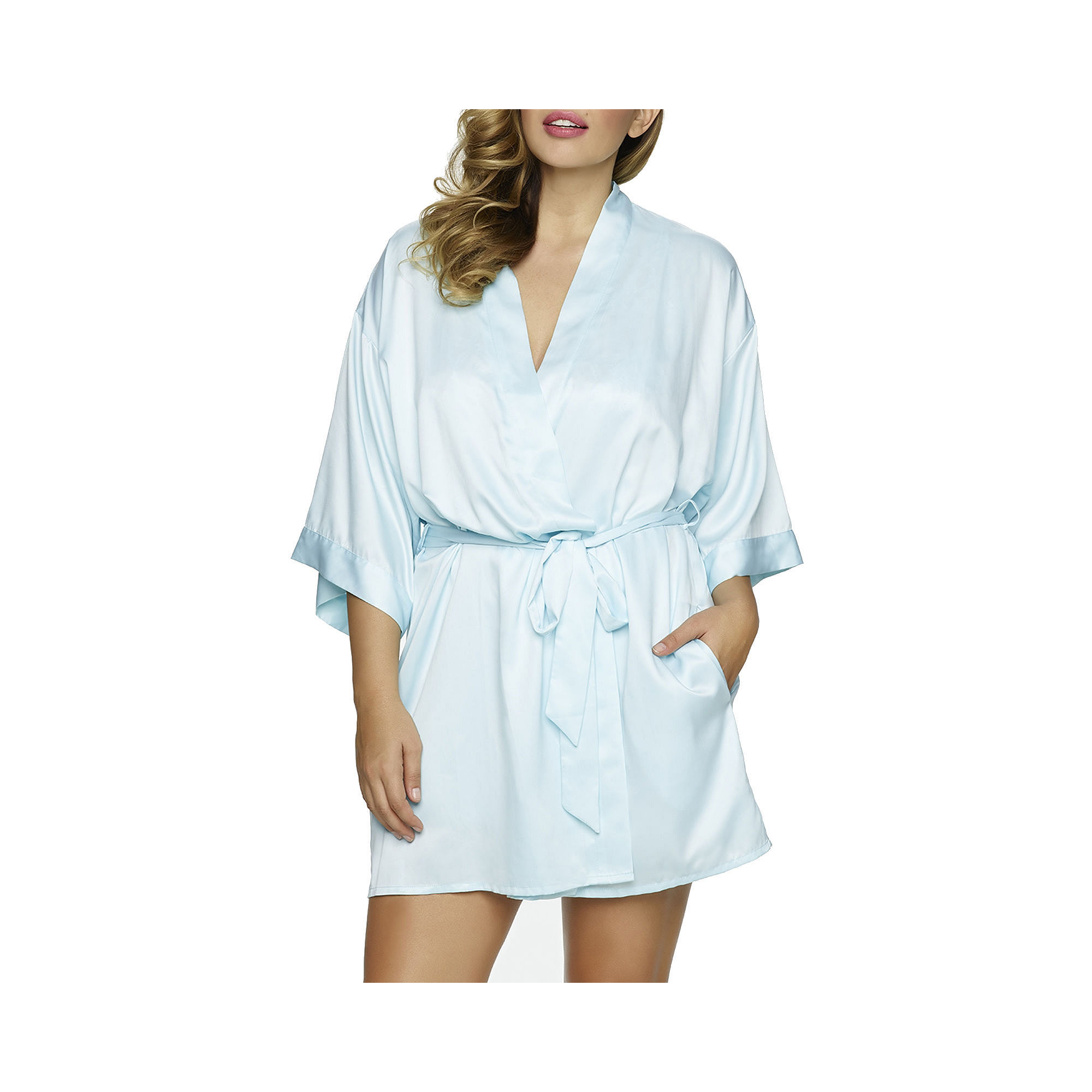 Jezebel Gem Satin Belted Kimono Robe - Plus plus size,  plus size fashion plus size appare