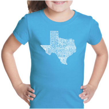 Los Angeles Pop Art The Great State Of Texas ShortSleeve Girls Graphic T-Shirt