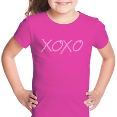 Los Angeles Pop Art Xoxo Short Sleeve Girls Graphic T-Shirt
