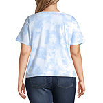 Juniors Plus Womens Crew Neck Short Sleeve Graphic T-Shirt