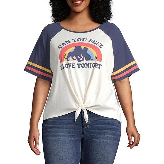 Juniors Plus Womens Round Neck Short Sleeve Graphic T-Shirt