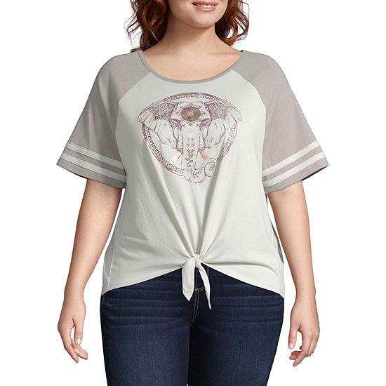 Womens Round Neck Short Sleeve Graphic T-Shirt-Juniors Plus