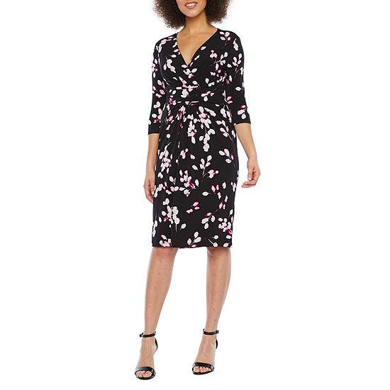 London Style 3/4 Sleeve Floral Sheath Dress