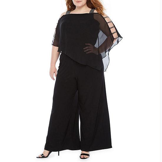 MSK 3/4 Sleeve Embellished Cape Jumpsuit-Plus