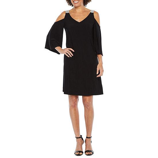 MSK 3/4 Sleeve Cold Shoulder Embellished Shift Dress