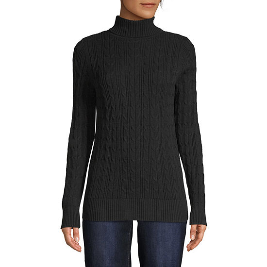 St. John's Bay-Tall Womens Turtleneck Long Sleeve Pullover Sweater