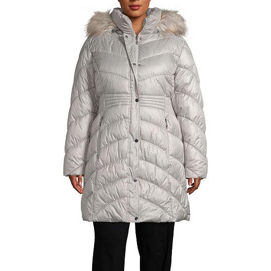 Liz Claiborne Hooded Heavyweight Puffer Jacket-Plus