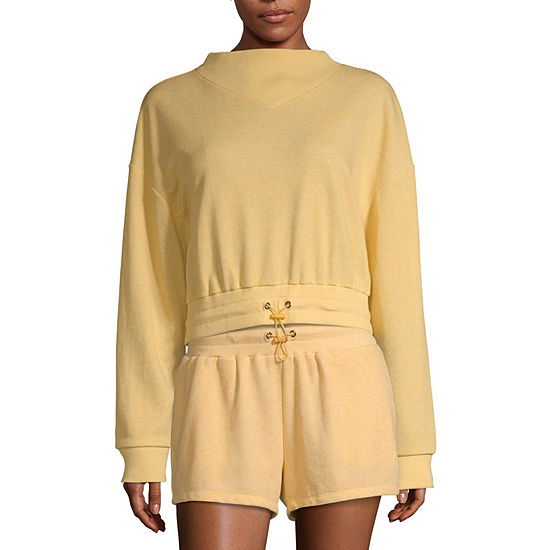 Flirtitude Juniors Womens Mock Neck Long Sleeve Sweatshirt