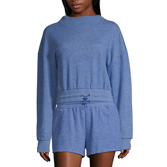 Flirtitude Juniors Womens Mock Neck Long Sleeve Sweatshirt