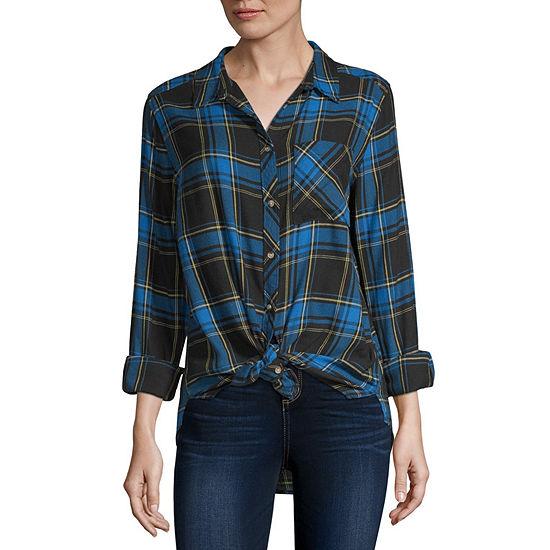 Arizona Womens Long Sleeve Button Front Shirt Juniors
