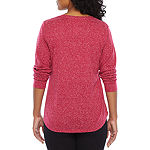 St. John's Bay Active-Womens V Neck Long Sleeve T-Shirt Petite