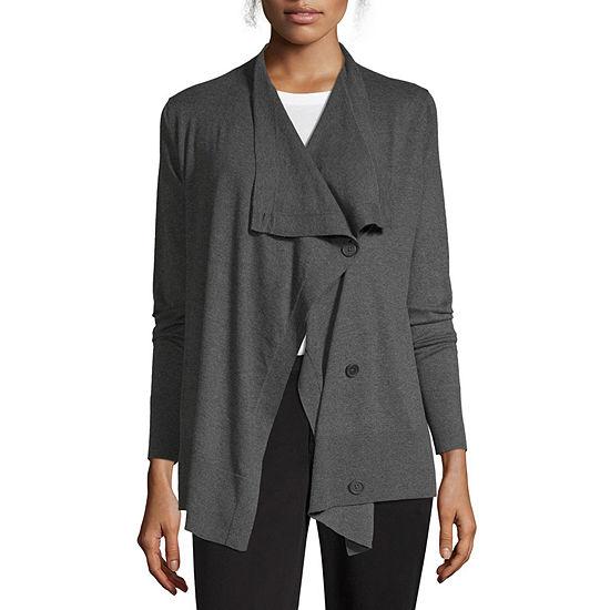 Liz Claiborne Studio Womens Long Sleeve Button Cardigan