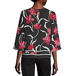Liz Claiborne Womens Crew Neck 3/4 Sleeve Blouse