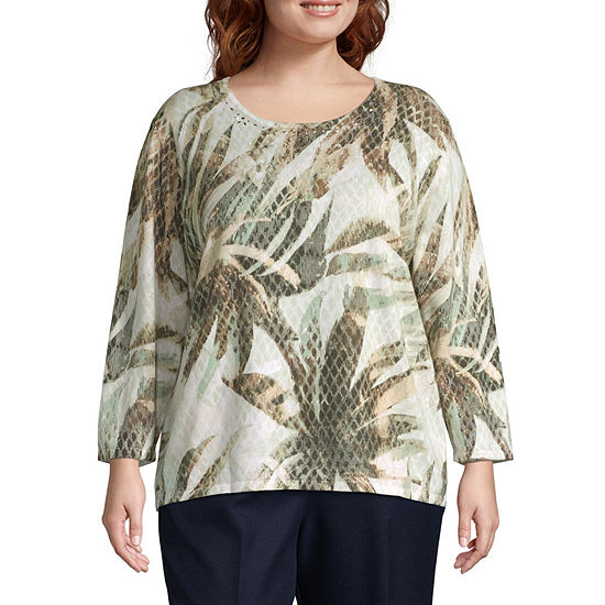 Alfred Dunner Textured Leaves Sweater-Plus