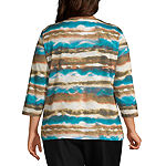 Alfred Dunner Walnut Grove Womens Round Neck 3/4 Sleeve Knit Blouse-Plus
