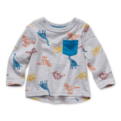 Okie Dokie Baby Boys Crew Neck Long Sleeve T-Shirt