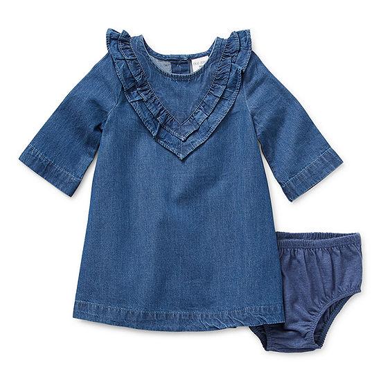 Okie Dokie Chambray Baby Girls Long Sleeve T-Shirt Dress
