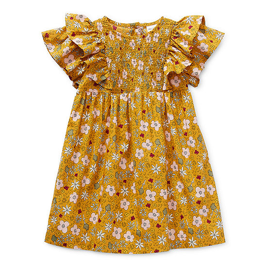 Okie Dokie Toddler Girls Short and Flutter Sleeve Shift Dress