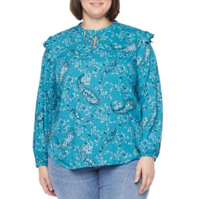 St. John's Bay Plus Womens Keyhole Neck Long Sleeve Blouse