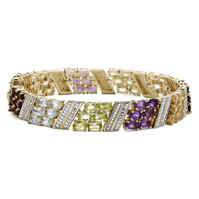Multi Gemstone & Diamond-Accent Silver-Plated Bracelet