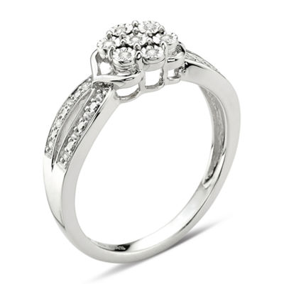 diamond blossom 1/10 CT. T.W. Diamond Cluster Sterling Silver Ring