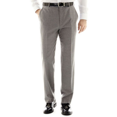 Stafford® Travel Gray Stripe Flat-Front Suit Pants