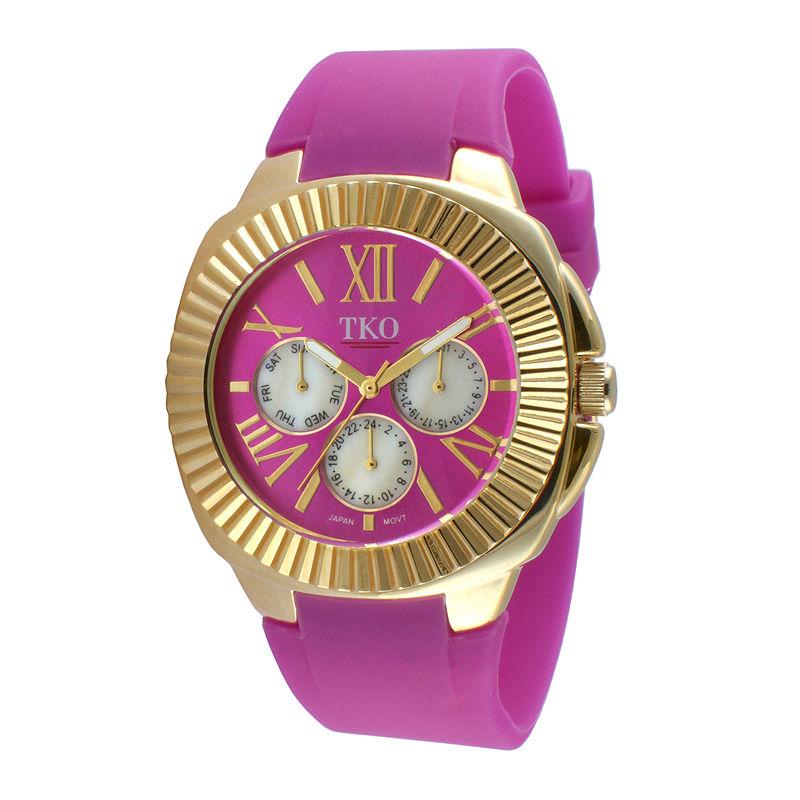 TKO ORLOGI Womens Purple Silicone Strap Sport Watch