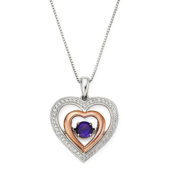 Love in Motion™ Genuine Amethyst and Lab-Created White Sapphire Double Heart Pendant Necklace