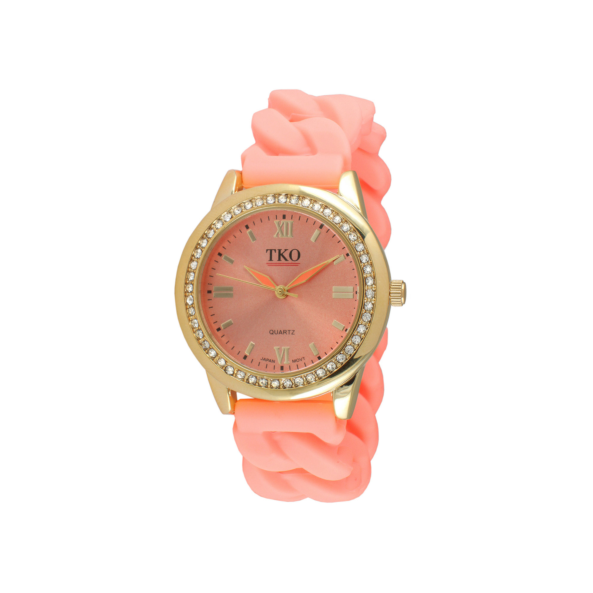 TKO ORLOGI Womens Crystal-Accent Chain-Link Light Pink Silicone Strap Stretch Watch