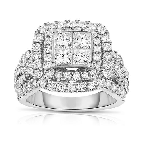 LIMITED QUANTITIES! Womens 2 1/2 CT. T.W. Princess White Diamond 14K Gold Engagement Ring