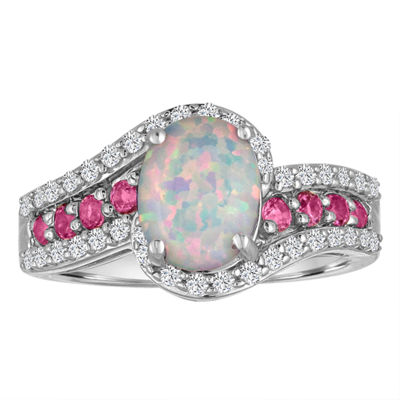 Lab Created Opal, Pink & White Sapphire Sterling Silver Ring