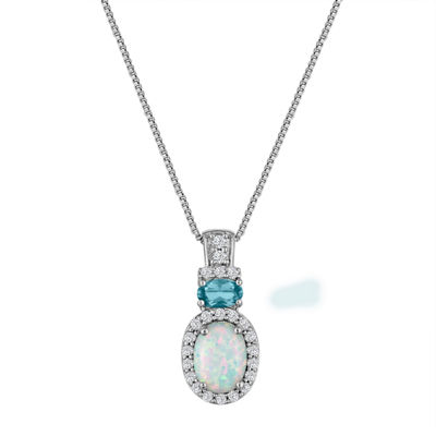 Lab Created Opal, Blue Topaz, And White Sapphire Sterling Silver Pendant Necklace