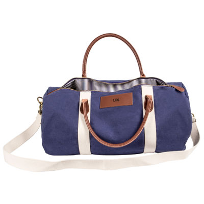 Cathy's Concepts Personalized Canvas and Leather Duffel Bag
